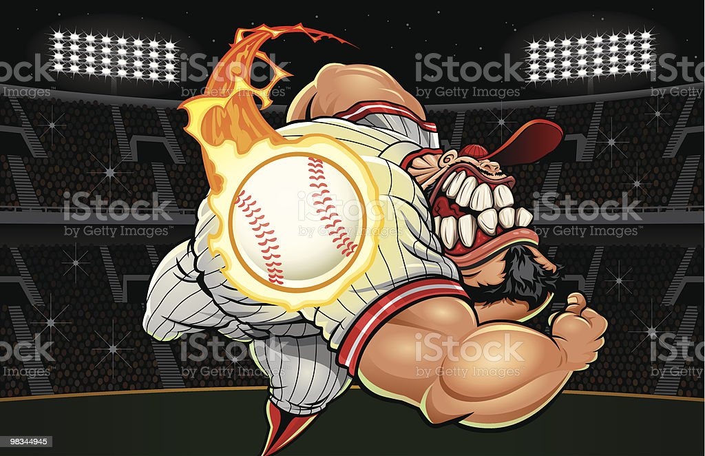 Monster Fastball (Landscape Version) royalty-free monster fastball stock vector art & more images of adult