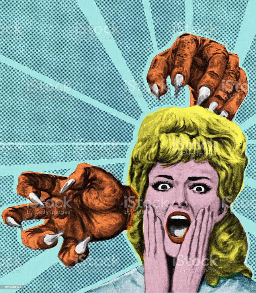 Monster Hands and Screaming Woman royalty-free stock vector art