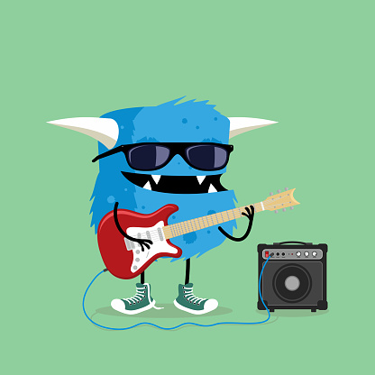 Monster playing red electric guitar plugged in amplifier. Cute and funny cartoon illustration