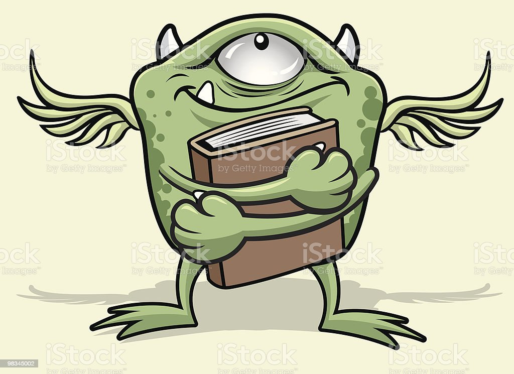 Monster Reacts to a Good Book royalty-free monster reacts to a good book stock vector art & more images of animal