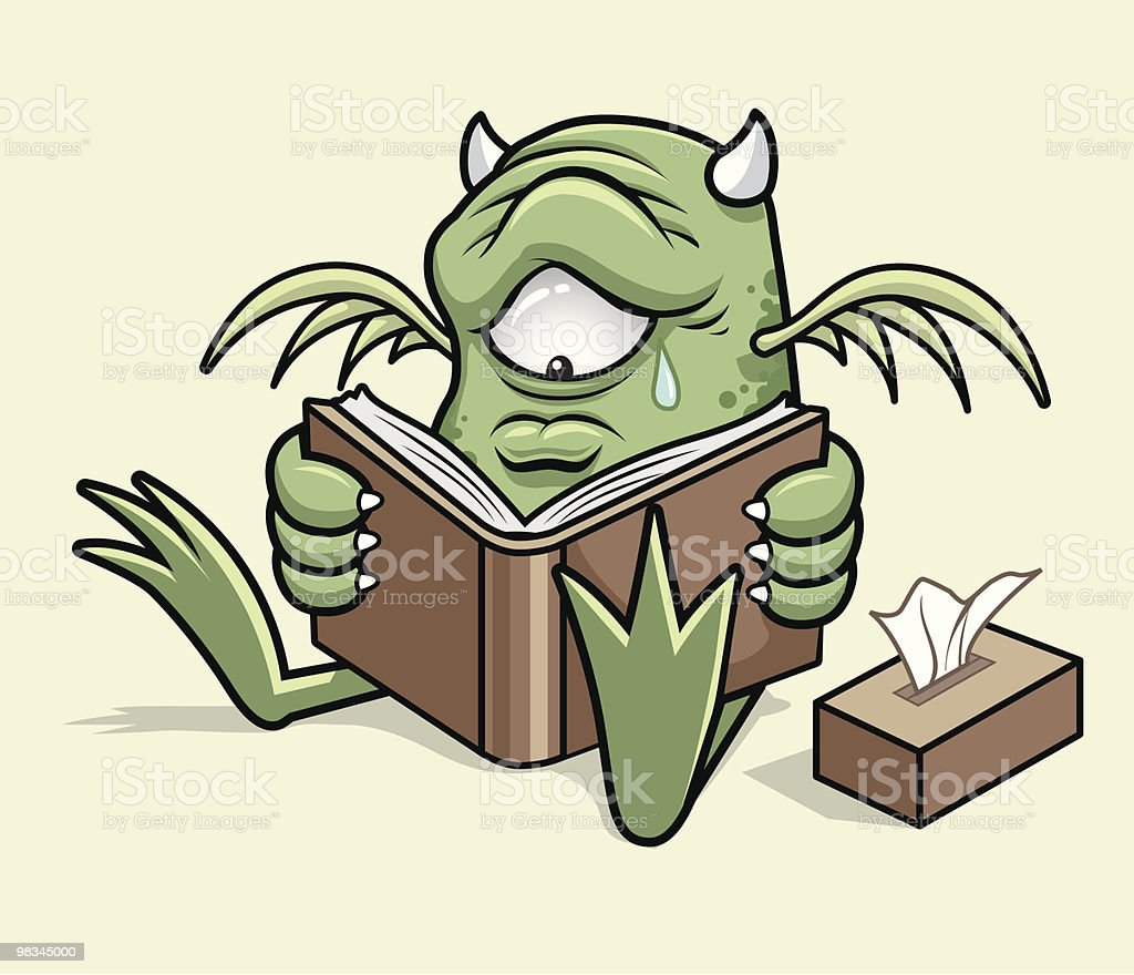 Monster Reads a Sad Story royalty-free monster reads a sad story stock vector art & more images of animal body part