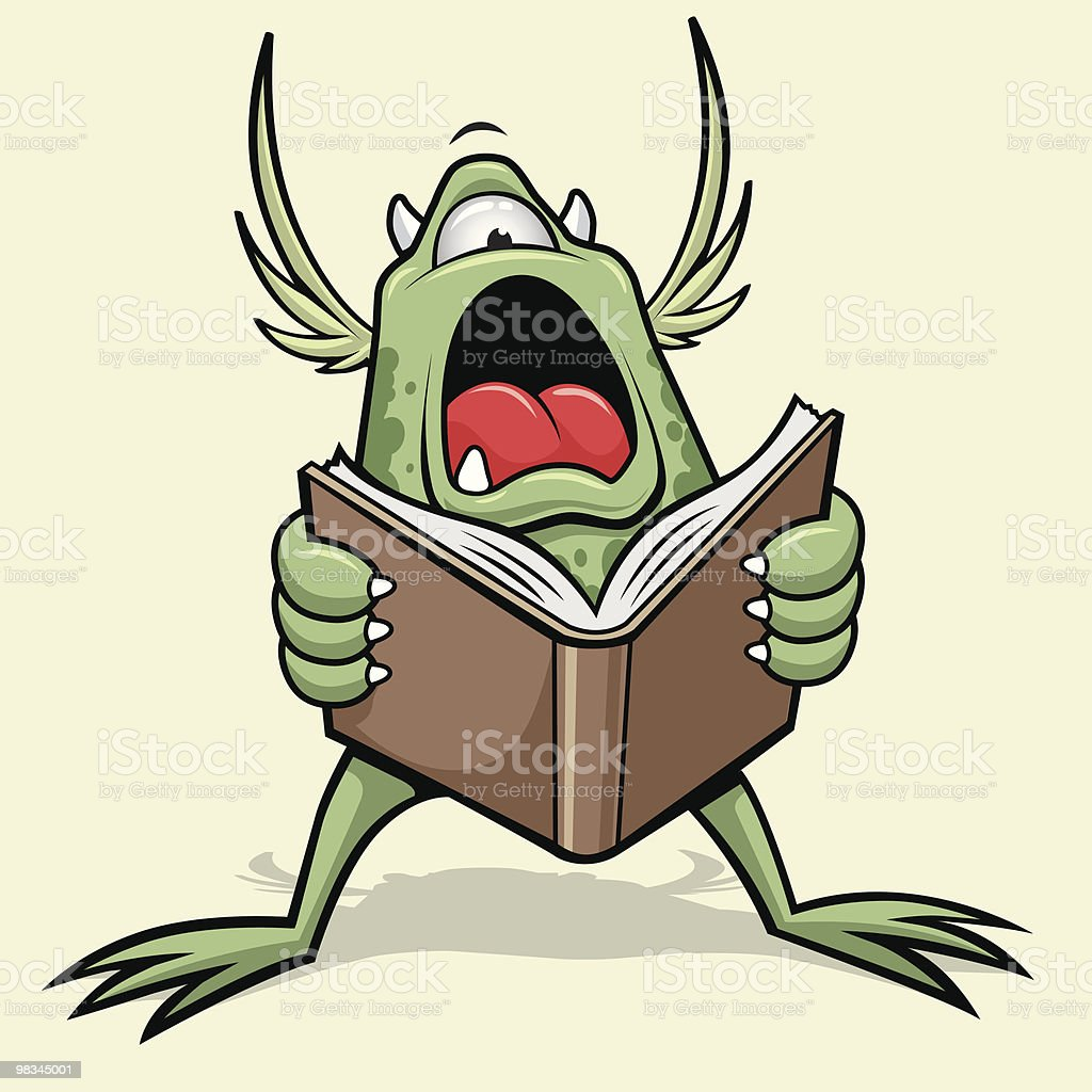 Monster Reads a Scary Story royalty-free monster reads a scary story stock vector art & more images of animal
