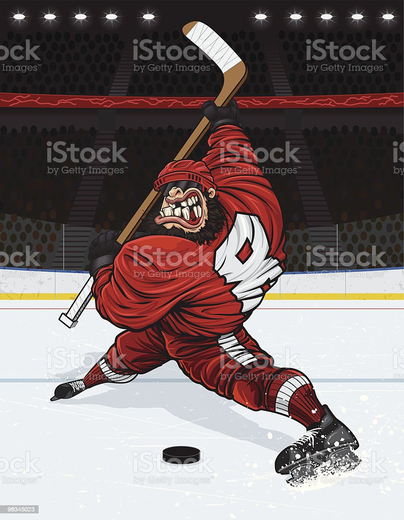 Monster Slap Shot (Version with Arena Background) royalty-free monster slap shot stock vector art & more images of adult