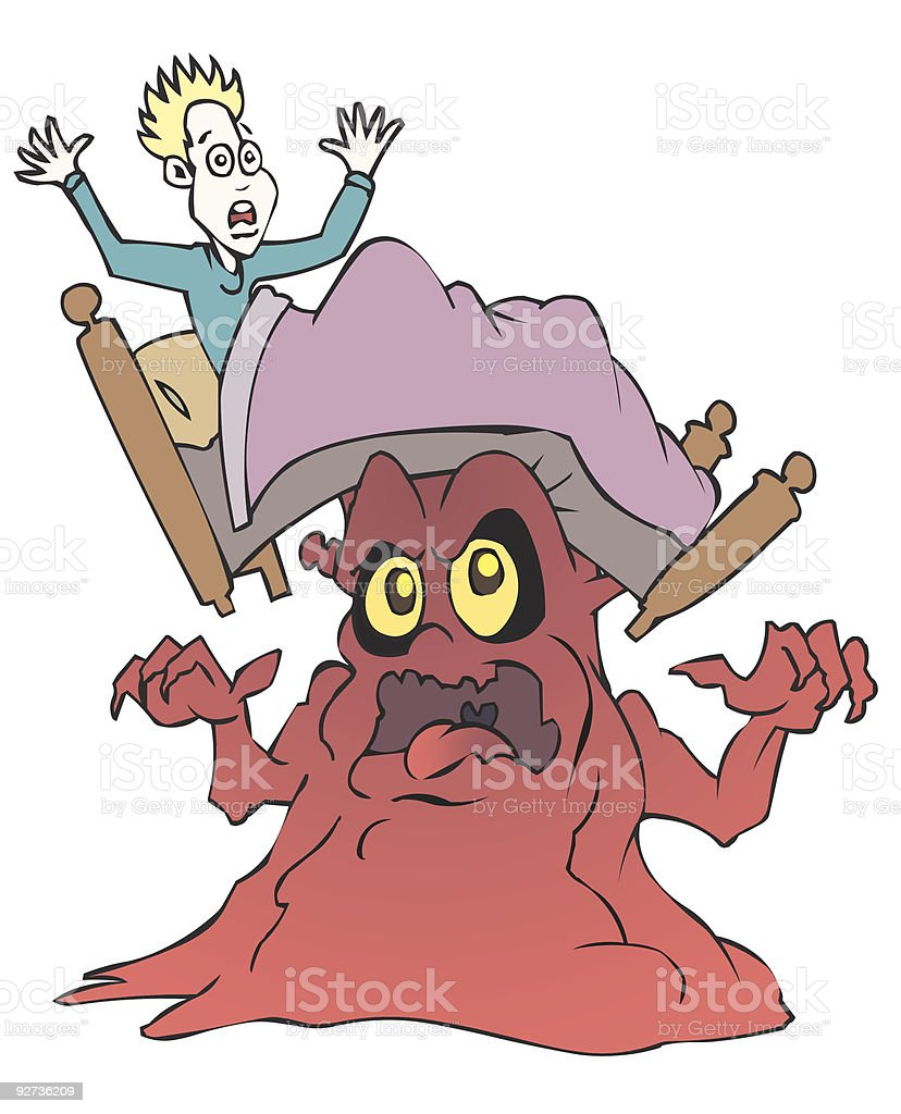 Monster Under Bed - Royalty-free Bed - Furniture stock vector