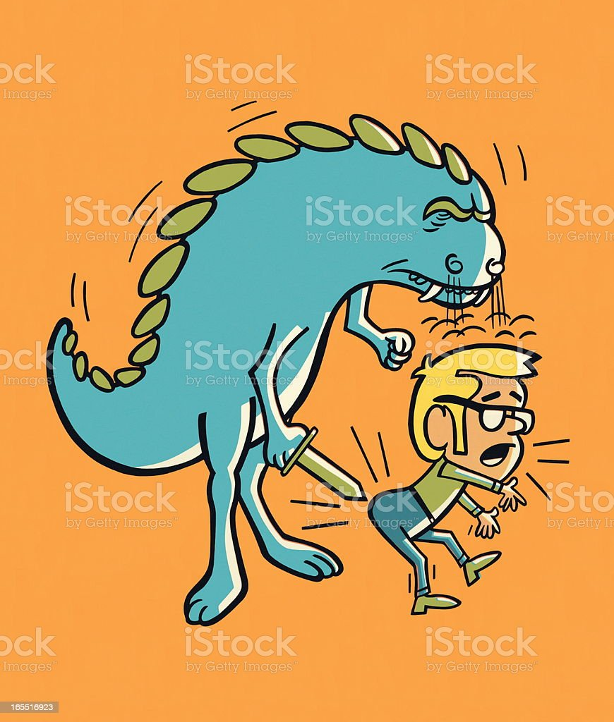 Monster with Sword Poking a Man royalty-free stock vector art