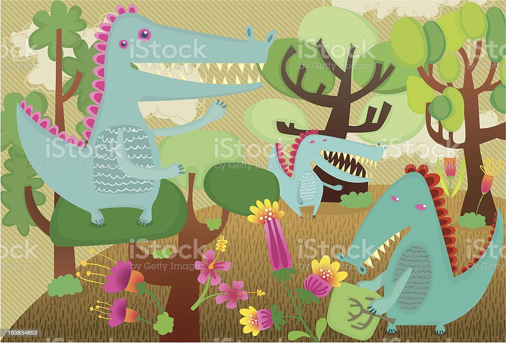 Monsters in a forest royalty-free stock vector art