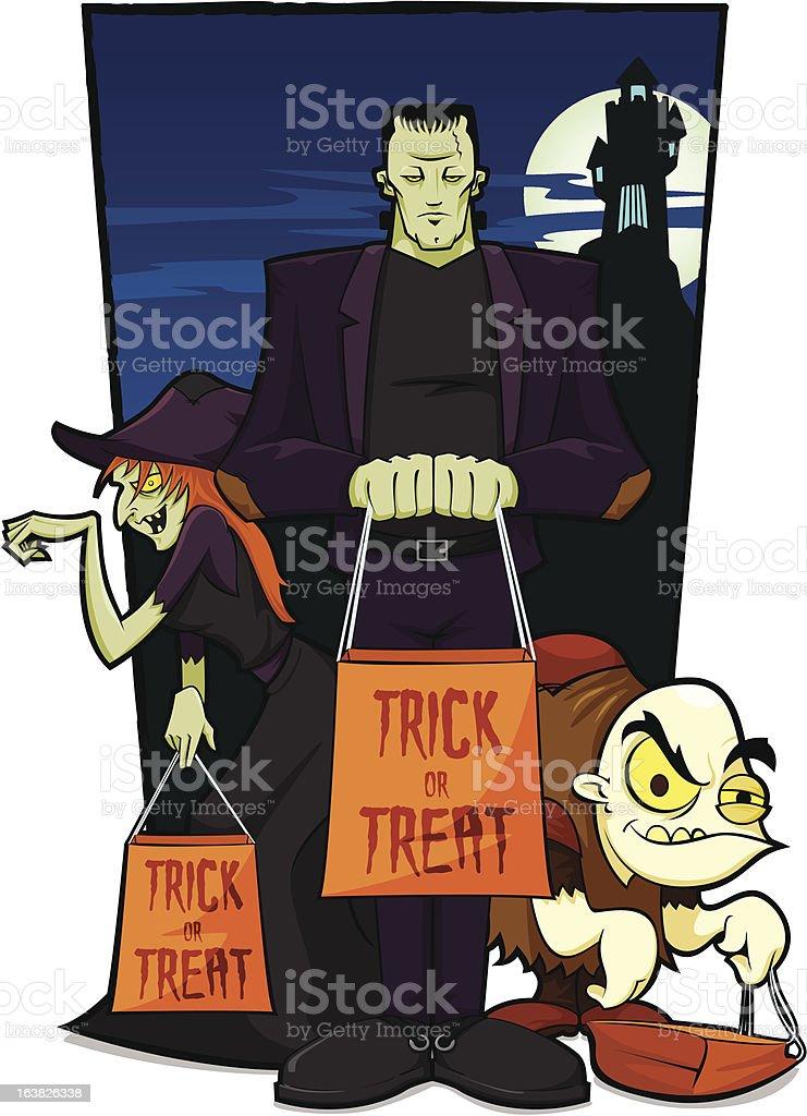 Monsters on Halloween royalty-free stock vector art