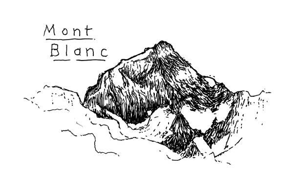illustrazioni stock, clip art, cartoni animati e icone di tendenza di mont blanc - monte bianco