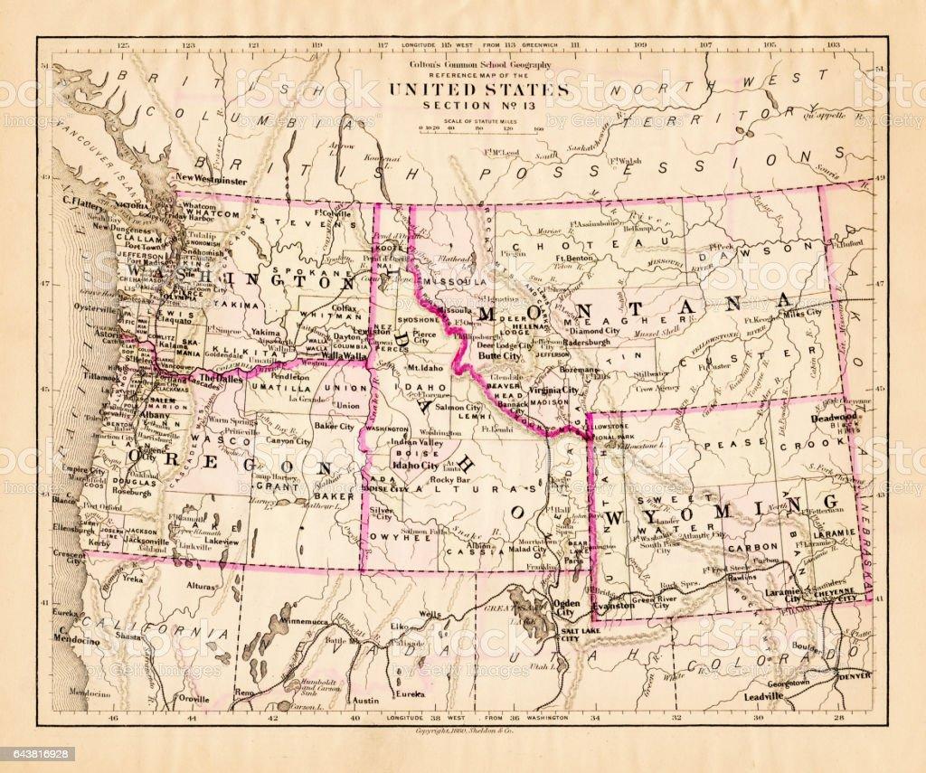 Montana Washington Oregon Idaho map 1881 vector art illustration