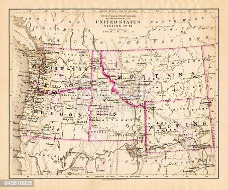 Montana Washington Oregon Idaho Map Stock Vector Art - Physical map of idaho