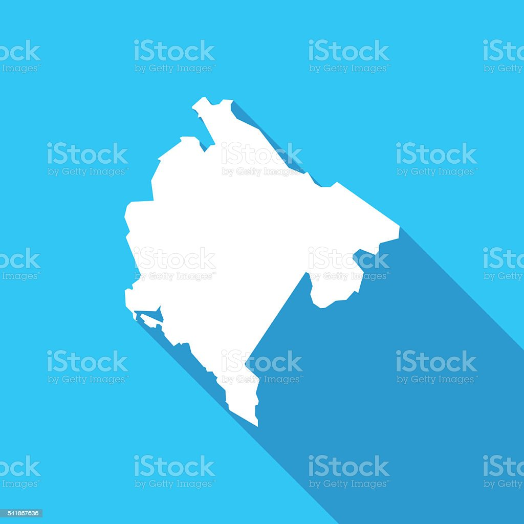 Montenegro long shadow map in white on a blue background vector art illustration