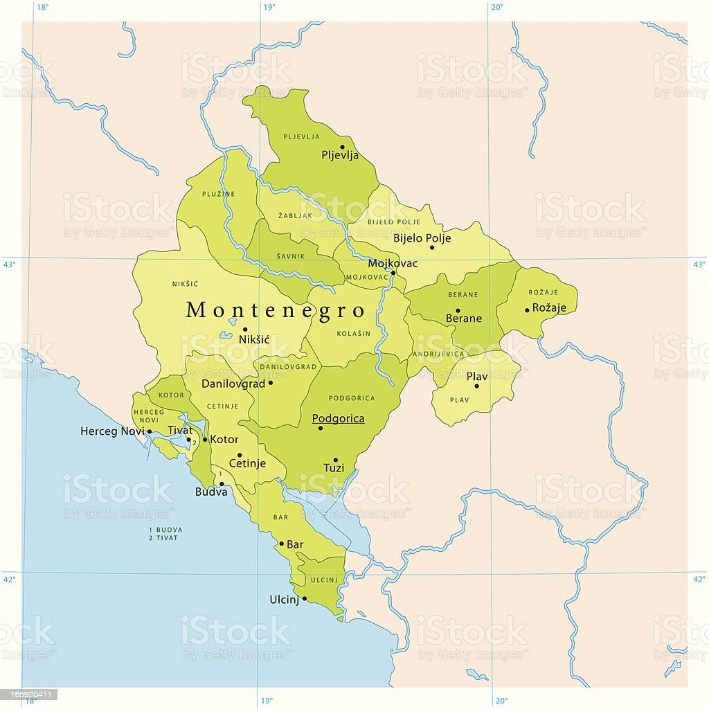 Montenegro Vector Map vector art illustration