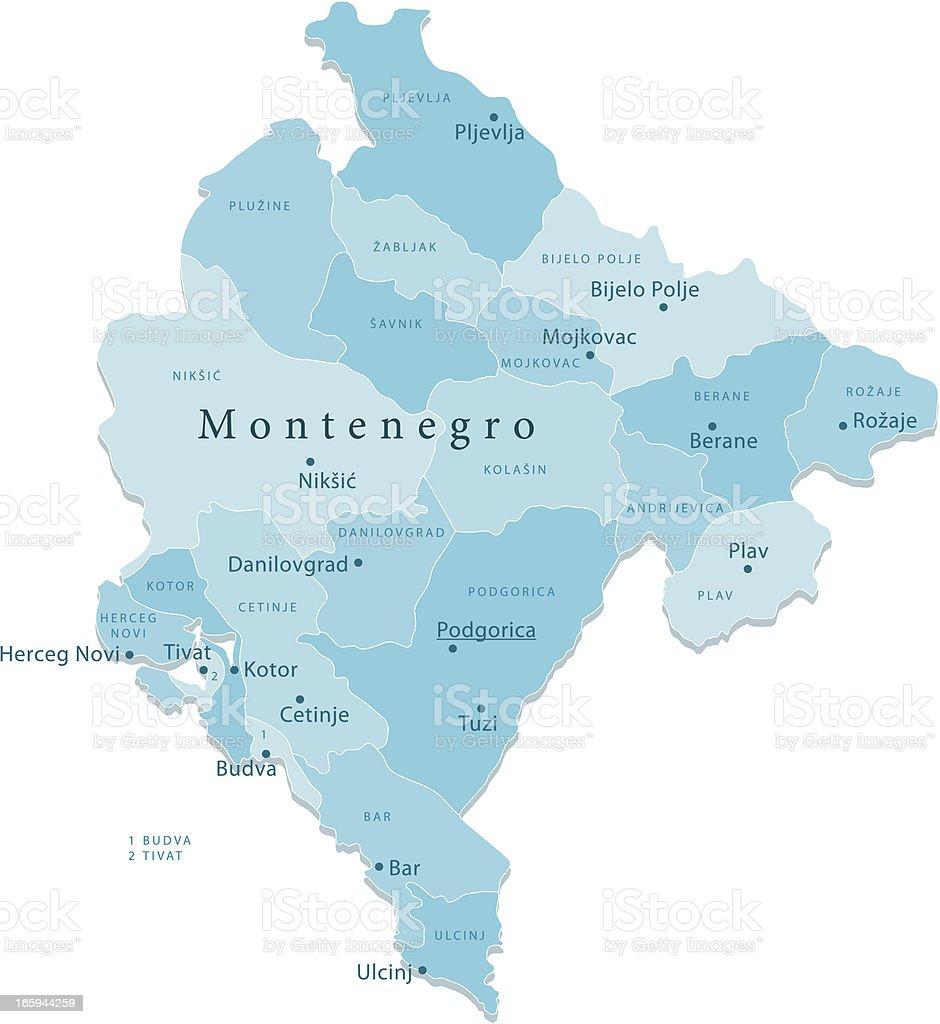 Bar Montenegro Karte.Montenegro Vektorkarte Regionen Isoliert Stock Vektor Art