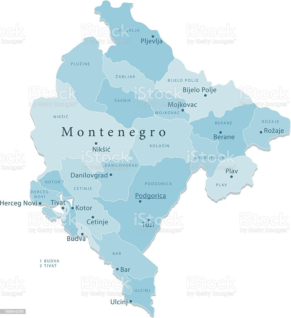 Montenegro Vector Map Regions Isolated vector art illustration