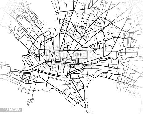 Mapa de ciudad de Monterrey México ilustración digital