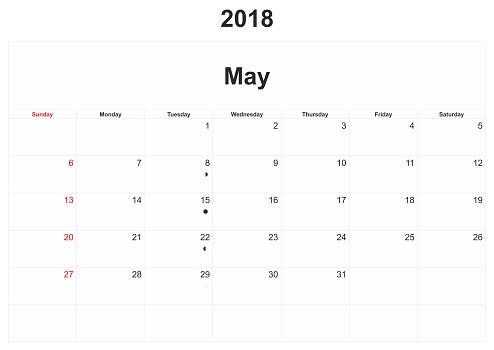2018 흰색 배경 월간 달력입니다 0명에 대한 스톡 벡터 아트 및 기타 이미지