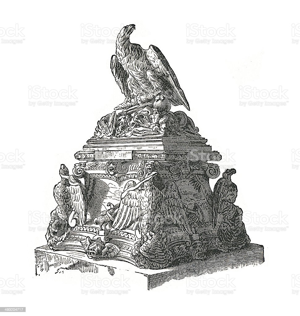 Monument of an eagle (antique engraving) vector art illustration
