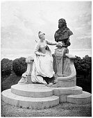 Illustration of a Monument to Jean-Antoine Watteau in the garden of the Luxembourg Palace in Paris