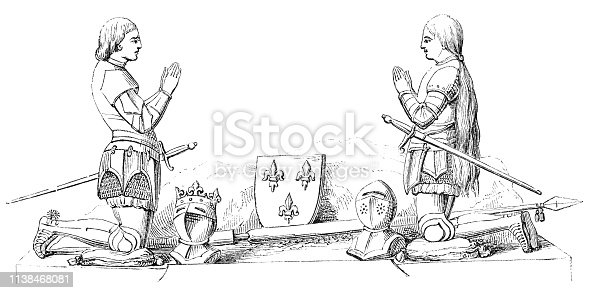 Detail from a Monument to Joan of Arc from Charles VII, King of France in Orleans, France from the Works of William Shakespeare. Vintage etching circa mid 19th century.