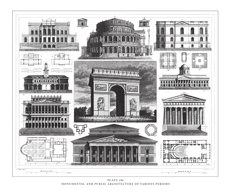Monumental and Public Architecture of Various Periods Engraving Antique Illustration, Published 1851. Source: Original edition from my own archives. Copyright has expired on this artwork. Digitally restored.