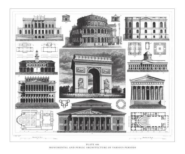 illustrations, cliparts, dessins animés et icônes de architecture monumentale et publique de diverses périodes gravure illustration antique, publié en 1851 - aix en provence