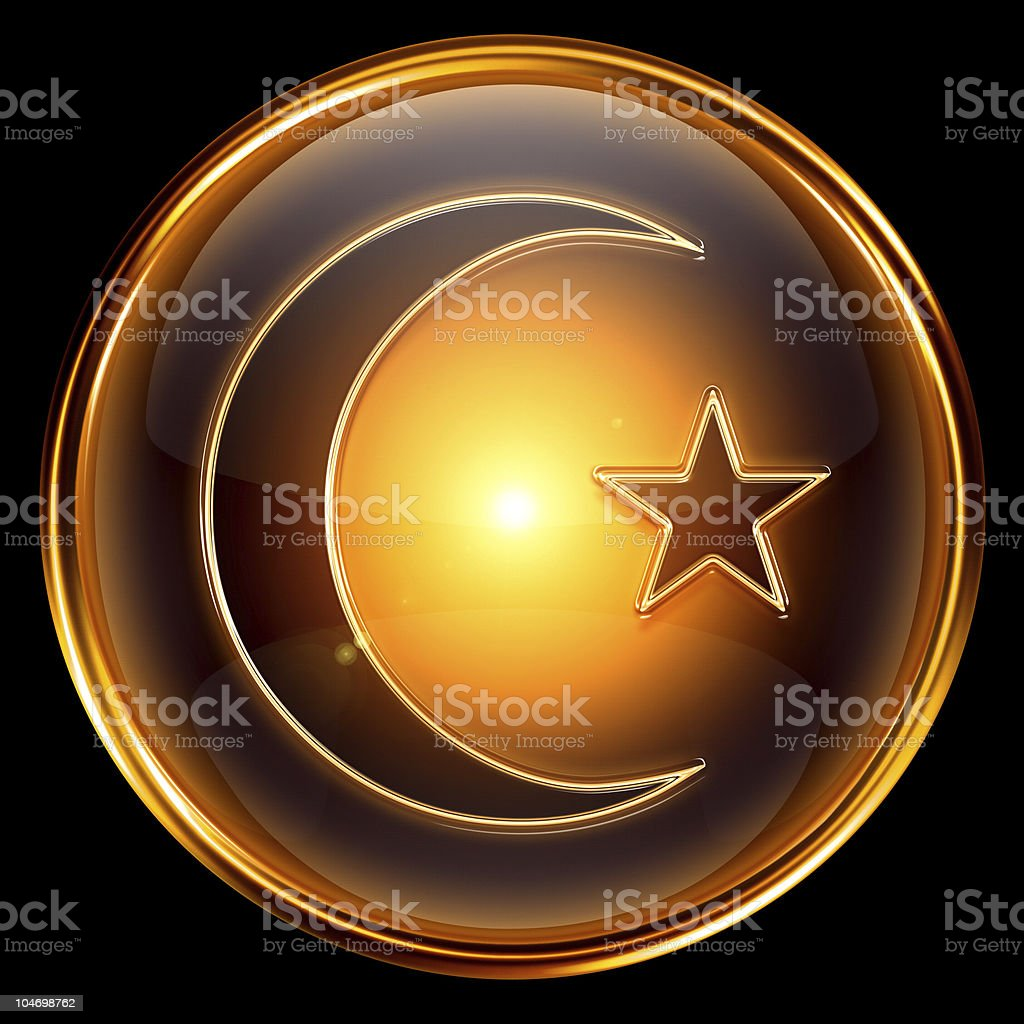 moon and star icon golden, isolated on black background. royalty-free moon and star icon golden isolated on black background stock vector art & more images of black color
