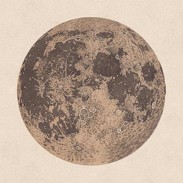 moon, declarations of craters and mountains, 1881 - mountain top stock illustrations