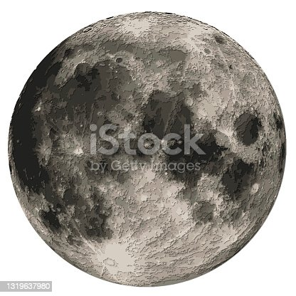 istock Moon detailed carved papercut layered map with shadows, isolated on white background. Elements of this image furnished by NASA. 1319637980