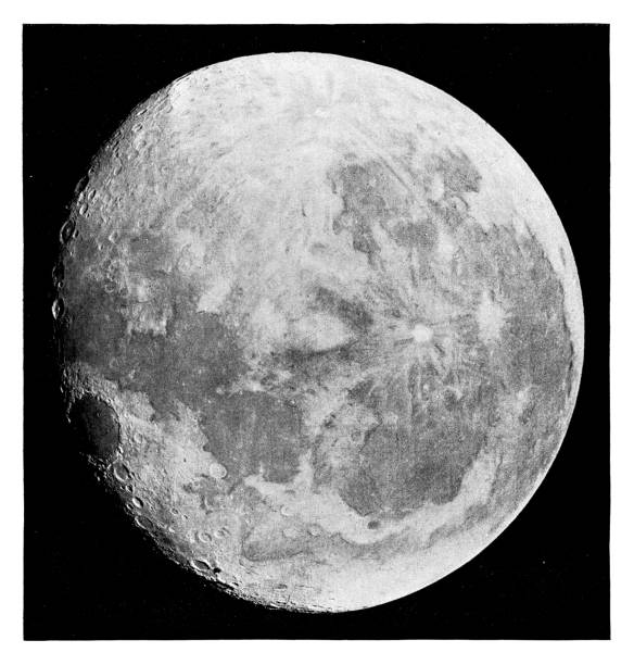 Moon Moon - Scanned 1881 Engraving moon surface stock illustrations