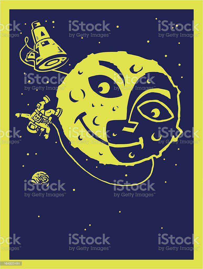 Moon man vector art illustration