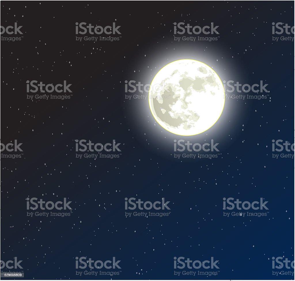 Moon on a starry dark blue night sky vector art illustration