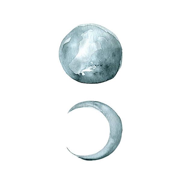 moon phases - watercolor hand painted illustration - 新月 幅插畫檔、美工圖案、卡通及圖標