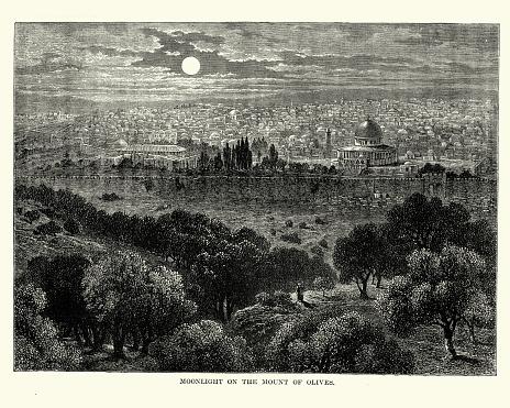 Moonlight on Mount of Olives from Jerusalem, 19th Century