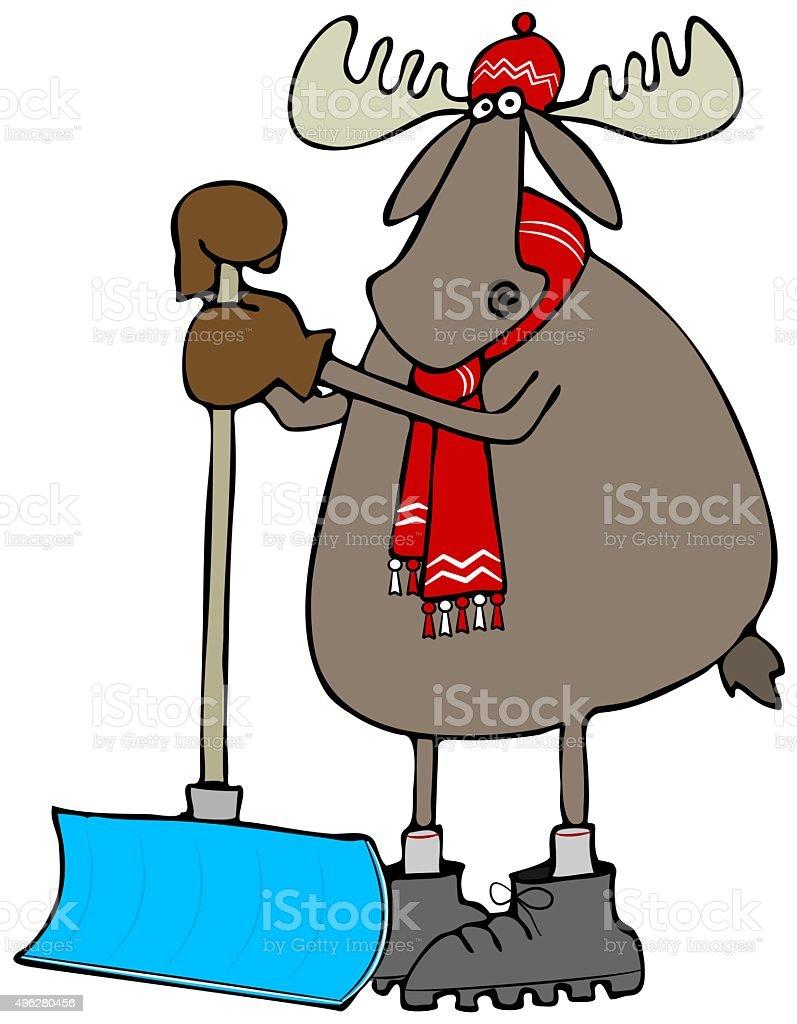 Moose leaning on a snow shovel vector art illustration