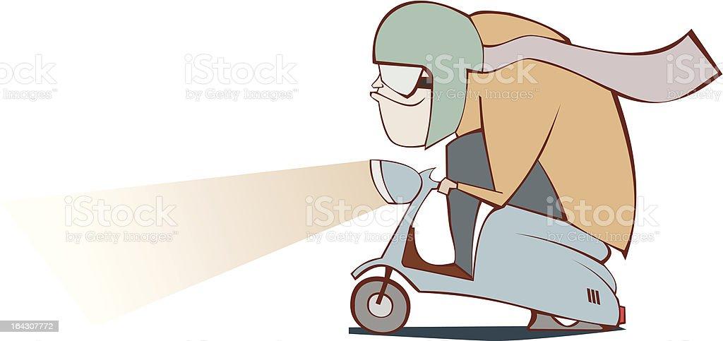 Moped Mann - Lizenzfrei Ausgebleicht Vektorgrafik