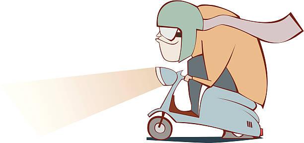 moped mann - extravagant schutzbrille stock-grafiken, -clipart, -cartoons und -symbole
