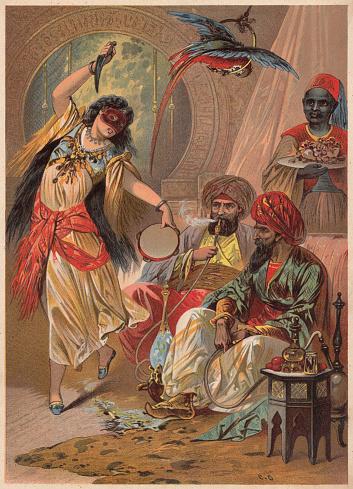 Morgiana kill the robber captain, from Ali Baba, Arabian Nights