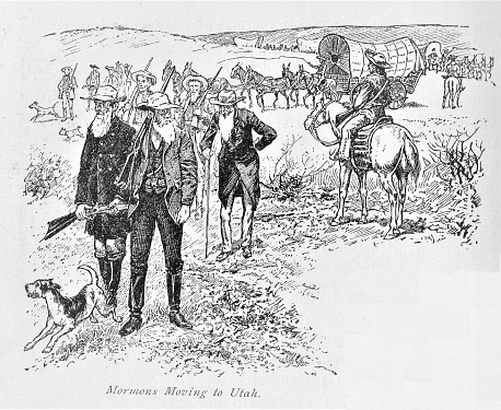Brigham Young leads the Latter Day Saints to Utah territory in 1847. Illustration published in The New Eclectic History of the United States by M. E. Thalheimer (American Book Company; New York, Cincinnati, and Chicago) in 1881 and 1890. Copyright expired; artwork is in Public Domain.