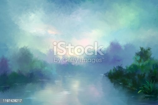 istock morning fog over the river, painting 1197428217