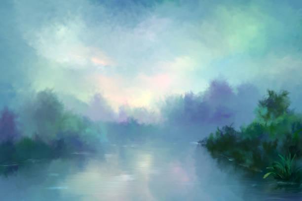 morning fog over the river, painting vector art illustration