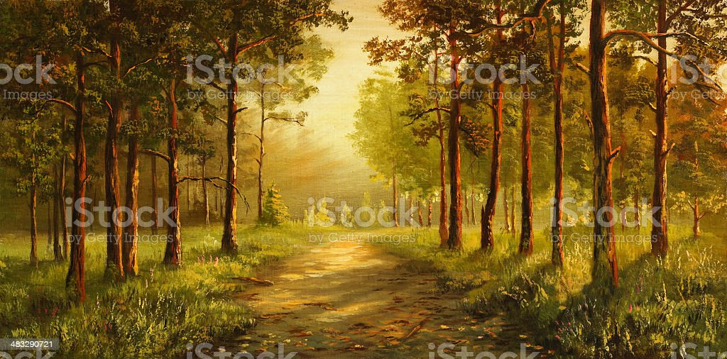 Morning in a pine grove royalty-free morning in a pine grove stock vector art & more images of art