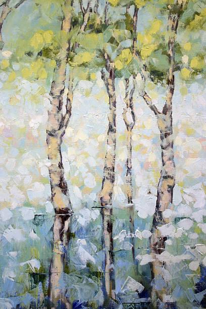 Morning Mist on Water Palette Knife Oil Painting vector art illustration
