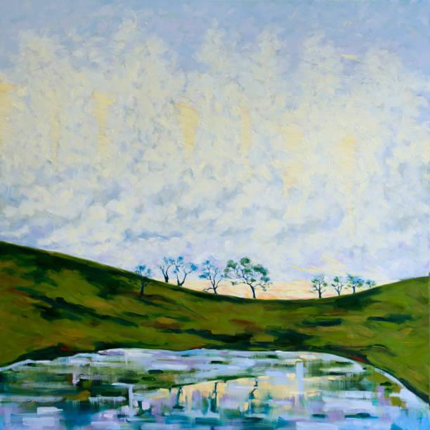 Morning Mists and Green Hillside at Sunrise Original Oil Painting vector art illustration