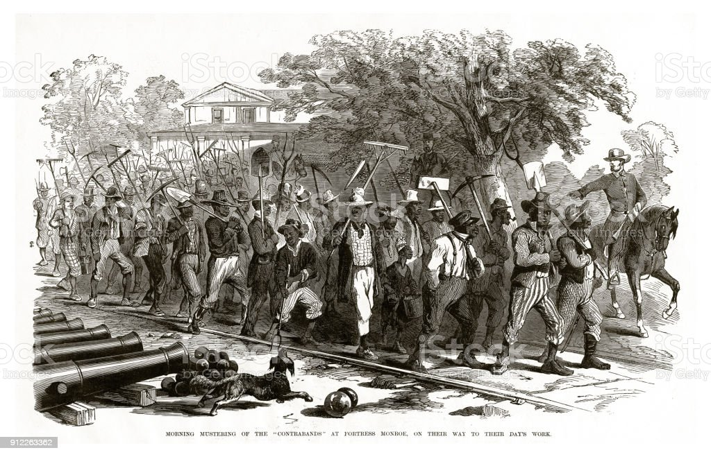 Morning Mustering of the 'Contrabands' at Fortress Monroe, on Their Way to Their Day's Work Civil War Engraving vector art illustration