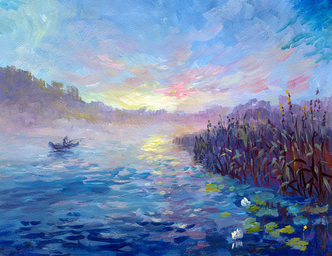 fisherman's boat in the early morning on a misty river, painting acrylic on watercolor paper in the style of impressionism