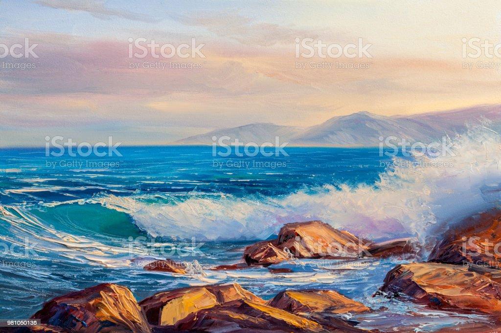 Deniz Dalga Illüstrasyon Bir Tuval üzerine Yağlı Boya Boya
