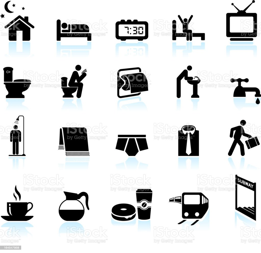 Morning process black and white royalty free vector icon set vector art illustration
