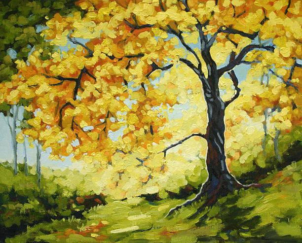 Morning Sunlight Glowing Behind Autumn Tree Oil Painting vector art illustration