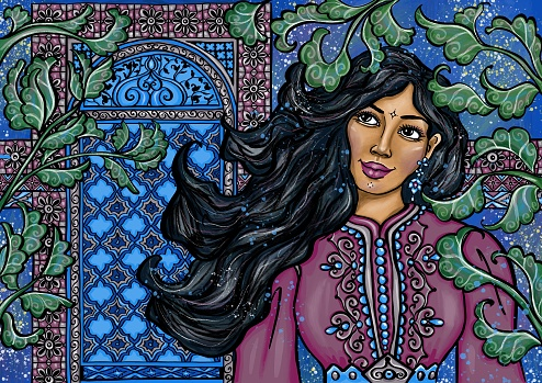 Moroccan woman in traditional kaftan dress with ornamental window