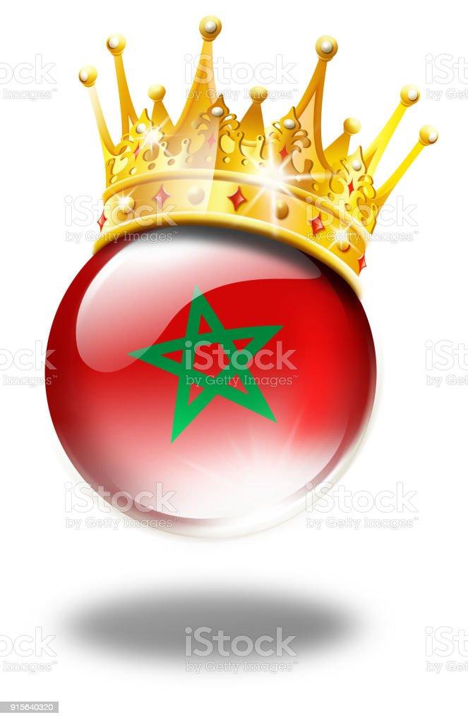 Bouton de Maroc avec drapeau et gagnant Couronne isolé sur blanc - Illustration de Maroc libre de droits